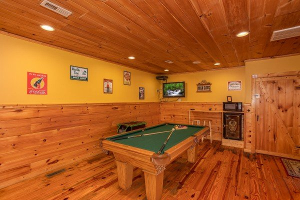 Pool table at A Getaway with a View, a 2 bedroom cabin rental located in Pigeon Forge