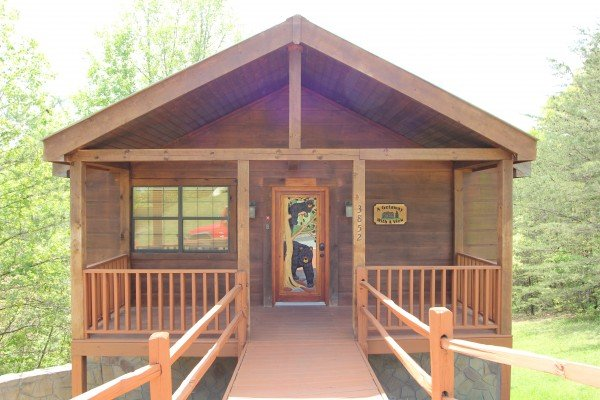 Close up of the front exterior at A Getaway with a View, a 2 bedroom cabin rental located in Pigeon Forge