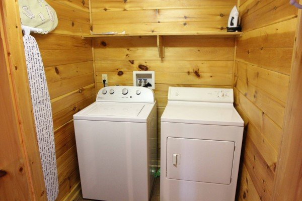 Full size washer and dryer at A Getaway with a View, a 2 bedroom cabin rental located in Pigeon Forge