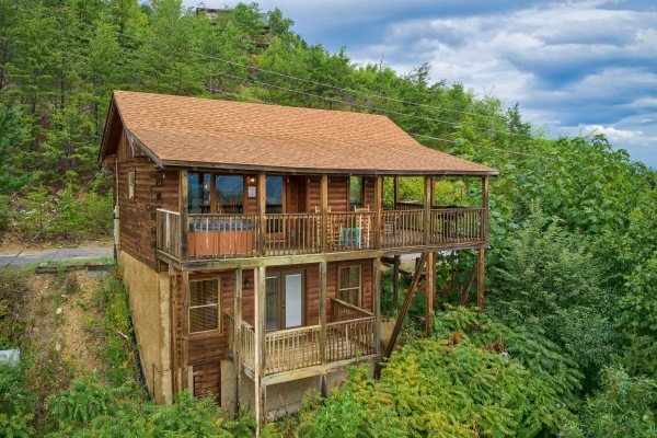 The back of the cabin as viewed by a drone at Knotty Nest, a 1 bedroom cabin rental located in Pigeon Forge