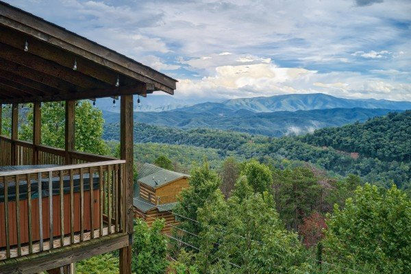 Mountain views at Knotty Nest, a 1 bedroom cabin rental located in Pigeon Forge