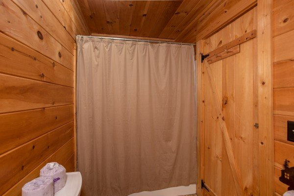Tub and shower in the bathroom at Knotty Nest, a 1 bedroom cabin rental located in Pigeon Forge