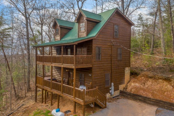 Exterior side view at Altitude Adjustment, a 1 bedroom cabin rental located in Pigeon Forge