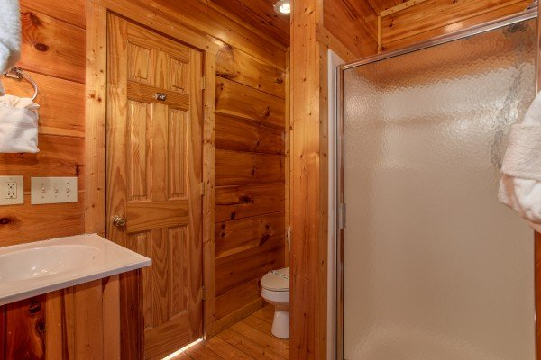 Bathroom with a shower at Altitude Adjustment, a 1 bedroom cabin rental located in Pigeon Forge