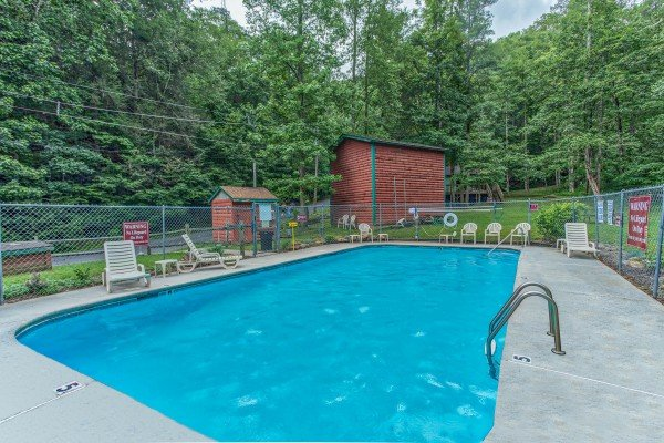 Pool access for guests at Ridge View, a 1 bedroom cabin rental located in Pigeon Forge