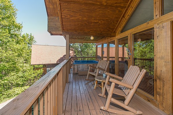 Deck rocking chairs at Ridge View, a 1 bedroom cabin rental located in Pigeon Forge