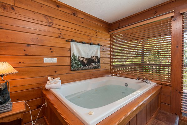 Jacuzzi in the king bedroom at Ridge View, a 1 bedroom cabin rental located in Pigeon Forge