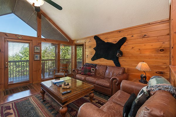 Large windows letting in plenty of light at Ridge View, a 1 bedroom cabin rental located in Pigeon Forge