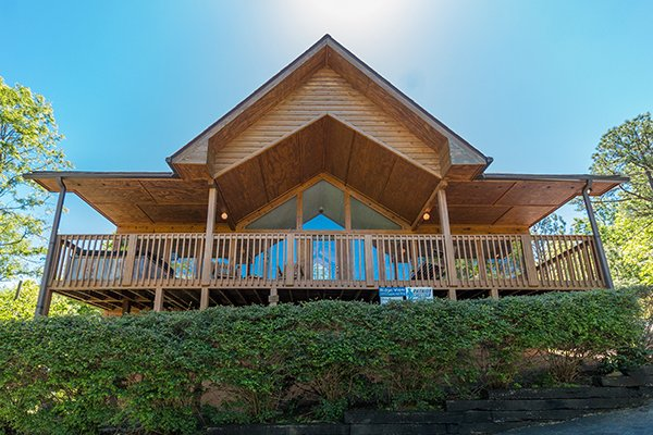 Looking up at Ridge View, a 1 bedroom cabin rental located in Pigeon Forge