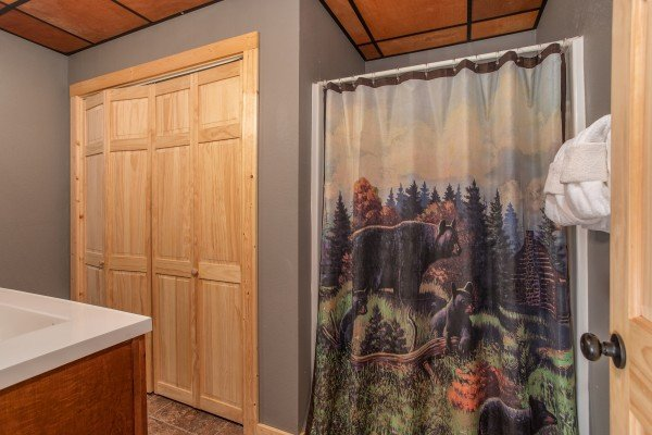 Downstairs bathroom with bear decor at Bear Essence, a 2-bedroom cabin rental located in Pigeon Forge