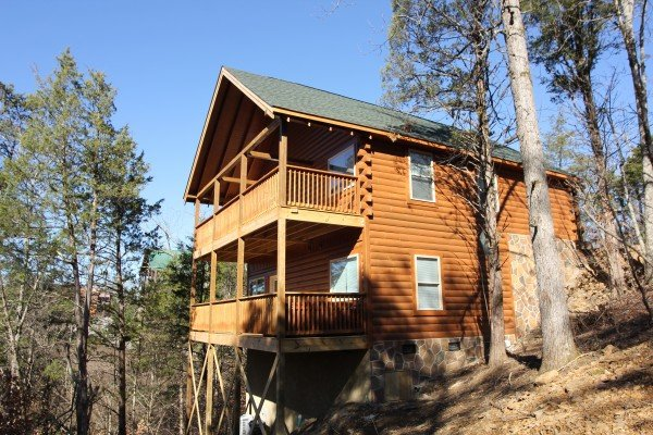 Front exterior with two decks at Bear Essence, a 2-bedroom cabin rental located in Pigeon Forge