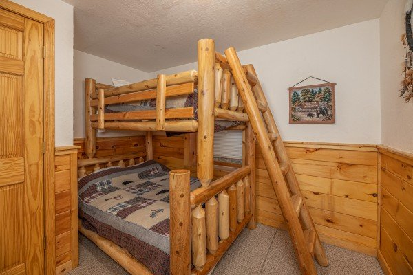 Twin and full bunk bed at Alpine Tranquility, a 4 bedroom cabin rental located in Pigeon Forge