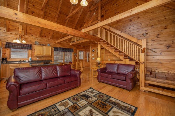 Living room sofa & loveseat at Alpine Tranquility, a 4 bedroom cabin rental located in Pigeon Forge