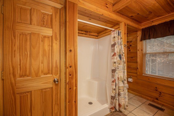 Shower stall in a bathroom at Alpine Tranquility, a 4 bedroom cabin rental located in Pigeon Forge