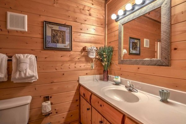 Bathroom at Smokey Max Cabin, a 2 bedroom cabin rental located in Pigeon Forge