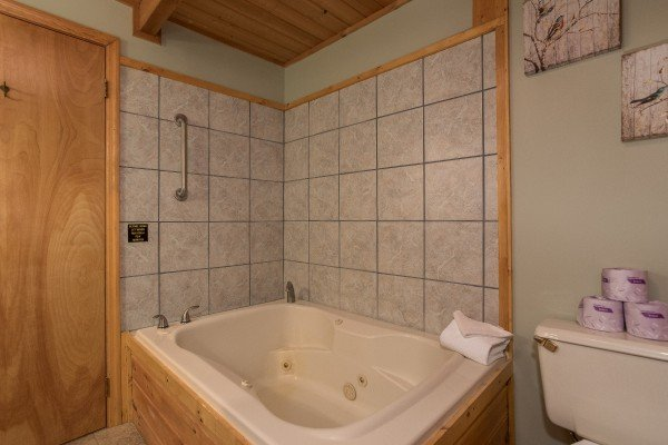 Jacuzzi in a bathroom at Snuggle Inn, a 2 bedroom cabin rental located in Pigeon Forge