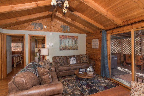 Sofas in the living room at Snuggle Inn, a 2 bedroom cabin rental located in Pigeon Forge