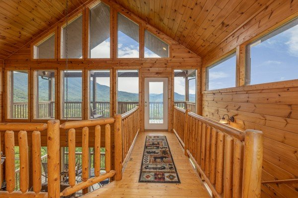 Catwalk with large windows at 1 Awesome View, a 3 bedroom cabin rental located in Pigeon Forge