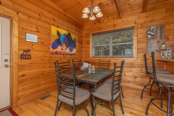 Dining table at 1 Awesome View, a 3 bedroom cabin rental located in Pigeon Forge