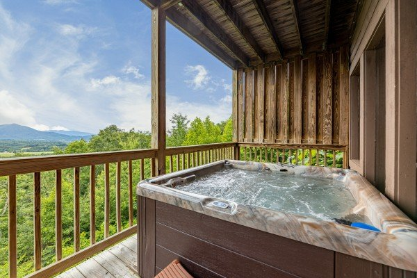 Hot tub with view at 1 Awesome View, a 3 bedroom cabin rental located in Pigeon Forge