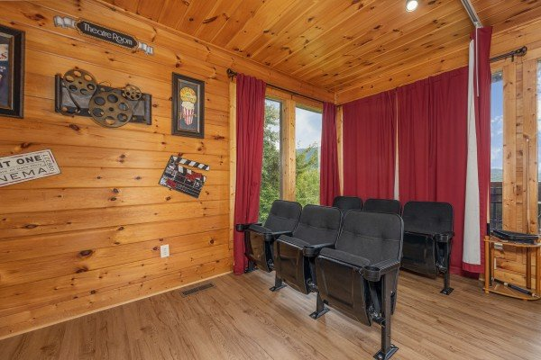 Theater room seating at 1 Awesome View, a 3 bedroom cabin rental located in Pigeon Forge
