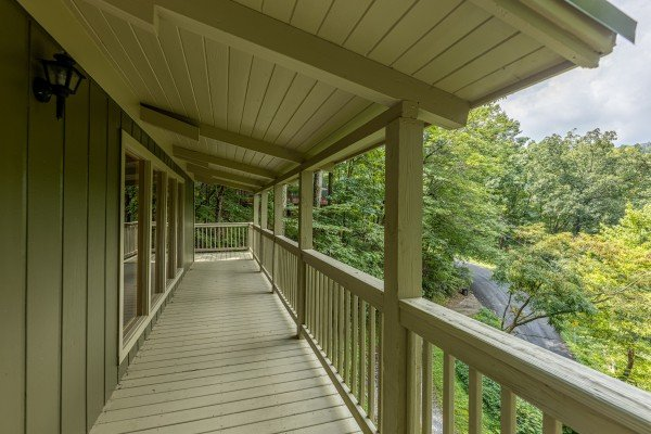 Deck at License to Chill, a 3 bedroom cabin rental located in Gatlinburg