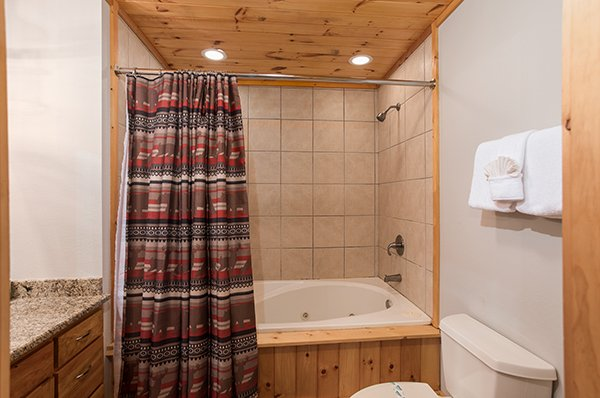 Basement bathroom with a jacuzzi and shower at Endless View, a 4-bedroom cabin rental located in Pigeon Forge