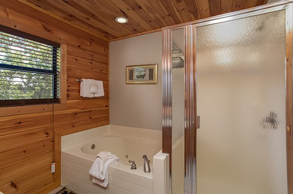 Bathroom with a jacuzzi tub and separate shower at Endless View, a 4-bedroom cabin rental located in Pigeon Forge