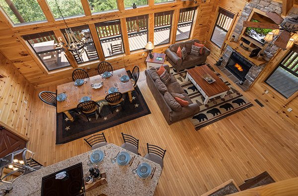 Looking down onto the main floor at Endless View, a 4-bedroom cabin rental located in Pigeon Forge