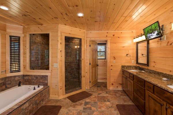 Bathroom with a jacuzzi tub, separate shower, and television on the main floor at Gonzo's Outpost, a 3-bedroom cabin rental located in Pigeon Forge