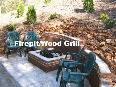 Fire pit and wood grill off the deck at Fishing Bears, a 1-bedroom cabin rental located in Gatlinburg