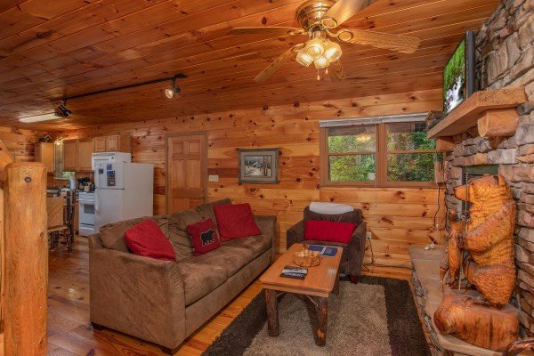 Main floor open concept living room at Fishing Bears, a 1-bedroom cabin rental located in Gatlinburg