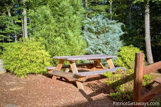 Picnic table at Gentleman Jack's, a 3-bedroom cabin rental located in Gatlinburg