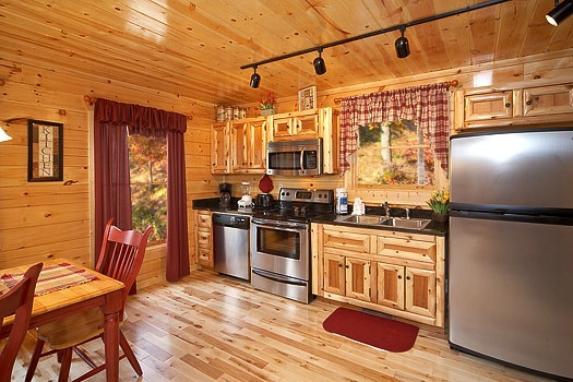 kitchen at big bear falls a 2 bedroom cabin rental located in gatlinburg