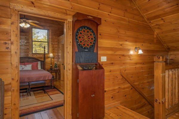 Dart board at King of the Mountain, a 3 bedroom cabin rental located in Pigeon Forge