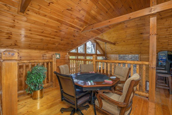 Poker table at King of the Mountain, a 3 bedroom cabin rental located in Pigeon Forge