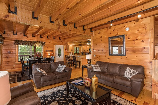 Sofa and loveseat in the living room at Pigeon Forge View, a 6 bedroom cabin rental located in Pigeon Forge