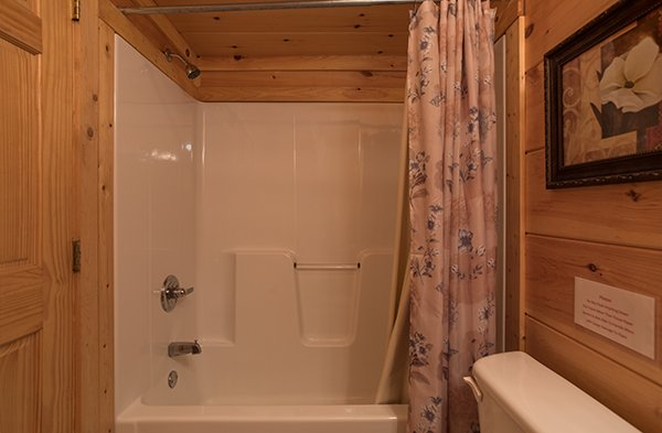 Tub and shower at Pigeon Forge View, a 6 bedroom cabin rental located in Pigeon Forge