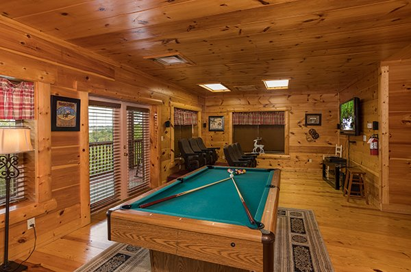 Pool table at Pigeon Forge View, a 6 bedroom cabin rental located in Pigeon Forge
