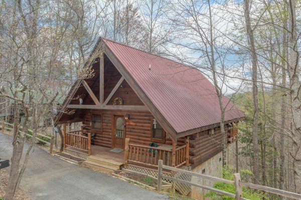 Exterior of the cabin at Woodland Chalet, a 1 bedroom cabin rental located in Pigeon Forge