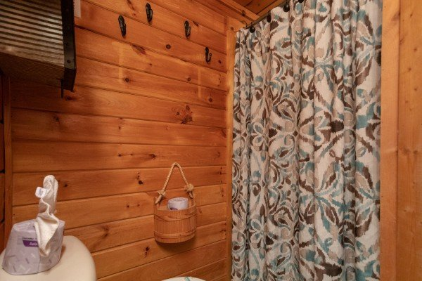 Bathroom at Woodland Chalet, a 1 bedroom cabin rental located in Pigeon Forge