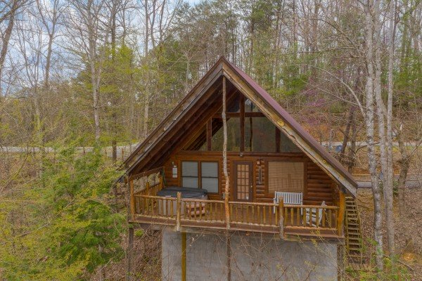 Drone rear exterior view at Woodland Chalet, a 1 bedroom cabin rental located in Pigeon Forge
