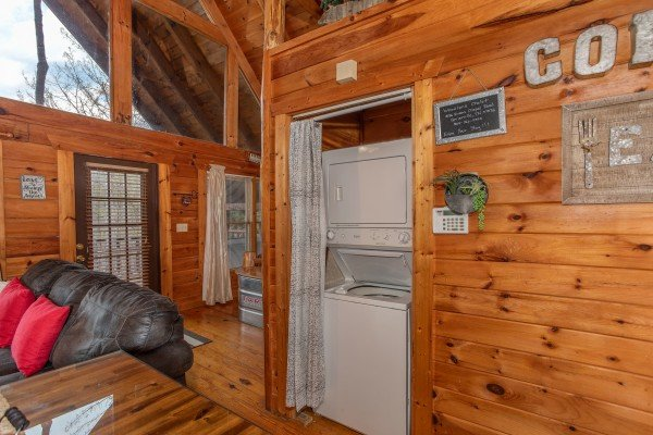 Laundry space at Woodland Chalet, a 1 bedroom cabin rental located in Pigeon Forge