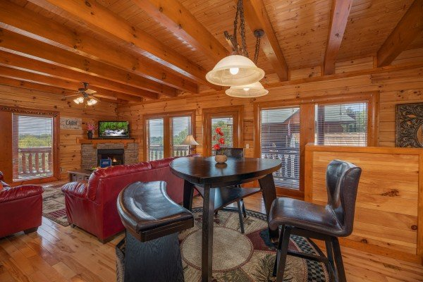 High top dining table at Galaxy Splash, a 3 bedroom cabin rental located in Sevierville