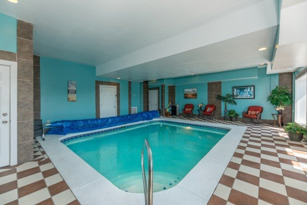 Indoor pool at Galaxy Splash, a 3 bedroom cabin rental located in Sevierville