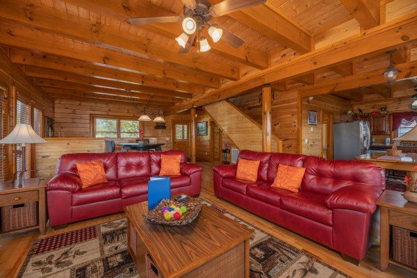 Living room at Galaxy Splash, a 3 bedroom cabin rental located in Sevierville