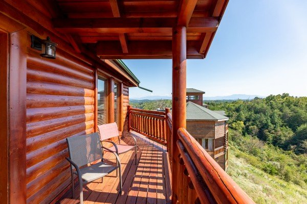 Porch with view at Galaxy Splash, a 3 bedroom cabin rental located in Sevierville