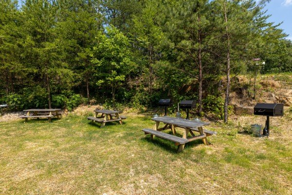 Picnic area with tables and a charcoal grill for guests Smoky Mountain High, a 1 bedroom cabin rental located in Pigeon Forge