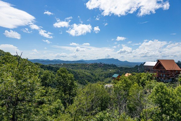 Hillside views at Smoky Mountain High, a 1 bedroom cabin rental located in Pigeon Forge