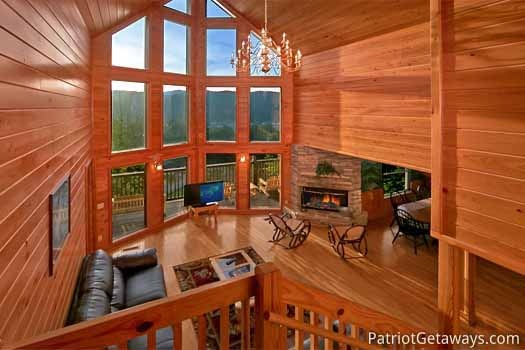 overhead view living room at night lights lodge a 7 bedroom cabin rental located in gatlinburg